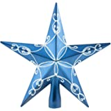 Clever Creations Blue Star Christmas Tree Topper - Festive Christmas Decor - Sparkling Shatter Resistant Plastic - 8 inch Tal