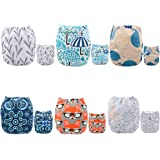 ALVABABY Pocket Cloth Diapers Reusable Washable Adjustable for Baby Boys and Girls,6 Pack with 12 Inserts 6DM26-AU