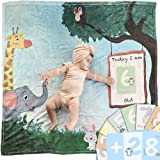 Baby Milestone Blanket for Baby Boy and Girl Includes 28 Milestone Cards - Unisex Animal Themed Perfect Baby Monthly Mileston