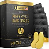 24K Gold Eye Mask– Puffy Eyes and Dark Circles Treatments – Look Less Tired and Reduce Wrinkles and Fine Lines Undereye, Revi