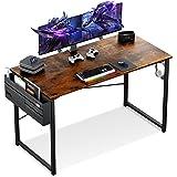 KKL パソコンデスク pcデスク 幅120cm×奥行60cm 収納袋付き ワークデスク ゲーミングデスク 机 在宅勤務 頑丈で組立簡単 勉強机 省スペース おしゃれ 収納 シンプルワークデスク モニターアーム取付対応 ブラウン