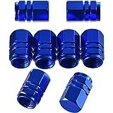 eBoot 8 Pieces Tire Stem Valve Caps Wheel Valve Covers Car Dustproof Tire Cap, Hexagon Shape (Blue)