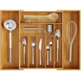 BAMEOS Utensil Drawer Organizer, Cutlery Tray Desk Drawer Organizer Silverware Holder Kitchen Knives Tray Drawer Organizer, 1