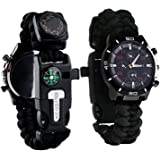 Survival Bracelet Watch, Men & Women Emergency Survival Watch with Paracord/Whistle/Fire Starter/Scraper/Compass and Thermome
