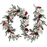Artificial Christmas Pine Garland with Spruce Cypress Pinecones Red Berry Garland Winter Greenery Garland for Holiday Season