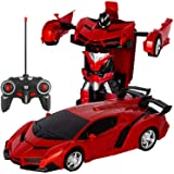 電動RCカー おもちゃの車 リモコンカー ラジコンカー 無線操作 ロボットに変換することができます 非常にクールなデザイン【景品付き】 (レッド)