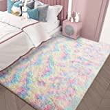 AROGAN Luxury Fluffy Girls Rug for Bedroom Kids Room 4 x 6 Feet, Super Soft Rainbow Area Rugs Cute Colorful Carpet for Nurser
