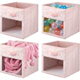mDesign Set of 4 Cube Storage Boxes – Fabric Storage Boxes with Viewing Window – Bedroom and Nursery Storage Container with P