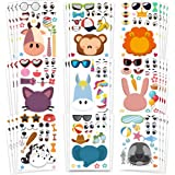 Amor 36 PCS Make-a-face Sticker Sheets Sticker Party Favors for Kids Animal Face Stickers for Festival, Reward, Art Craft, Pa