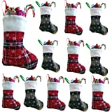 Vanteriam 7 inch Mini Christmas Stockings 12 Pack, Rustic Personalized Red and Green Plaid Design with Snowflake and Fleece C