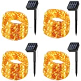 Solar String Lights, 4 Pack 200 LED Solar Fairy Lights 66 Feet 8 Modes Copper Wire Lights Waterproof Outdoor String Lights fo