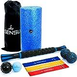 Sensu 8-in-1 Foam Roller Set – Muscle Roller Set Includes Peanut Ball, 3 Resistance Bands, Massage Roller Stick, Spikey Ball,
