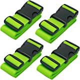 BlueCosto 4X Green Luggage Straps Suitcase Strap Belts + 1x Green Travel Bag Tag Label