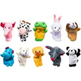 Velvet Cute Animal Style Finger Puppets for Children, Shows, Playtime, Schools-10 pcs