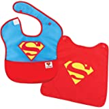Bumkins DC Comics SuperBib with Cape/Baby Bib 6-24 Months, Waterproof, Washable, Stain and Odor Resistant - Superman