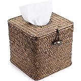 Sumnacon Square Woven Tissue Box Holder, Decorative Napkin Holder Pumping Paper Case Dispenser, Facial Box for Home Office Ca