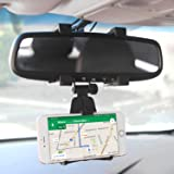 Cellet Rear view Mirror Car Mount Bracket Compatible with Apple 11 Pro Max Xr Xs Max X 8 Plus 7 6 Samsung Note 10 10+ 9 8 5 G