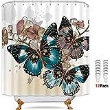Riyidecor Cdcurtain Kid Cartoon Shower Curtain Waterproof Polyester, Butterfly, 72x72