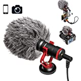 スマホカメラマイク Tikyskyビデオ マイク DSLR用 インタビューマイクiPhone AndroidフォンCanon Nikon ウィンド スクリーン付き 3.5mm 防風 カバー付き