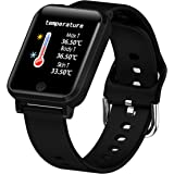 Smart Watch Blood Pressure Monitor, Heart Monitor Smart Watch, Temperature Scanner, IP67 Waterproof, SpO2+ HR+ BP Monitor, Sp