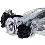 June Bloomy Day of the Dead Headpiece Rose Floral Crown Veil Halloween Costume Mexican Headband (Black Gray Veil)