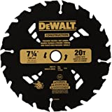 DEWALT DW3174 Construction Series 7-1/4-Inch 20 Tooth ATB Thin Kerf Pressure Treated and Wet Lumber Cutting Saw Blade with 5/