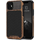 TENDLIN Compatible with iPhone 11 Case Wood Grain with Carbon Fiber Texture Design Leather Hybrid Case