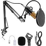 JORAGO Condenser MicrophoneSet, Professional MicrophoneKit with Adjustable MicSuspension Scissor Arm, BM-800 Mic match Met