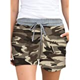 ELF QUEEN Womens Shorts Comfy Elastic Waist Stretch Drawstring Casual Shorts Pants with Pockets