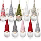 Christmas Tree Hanging Gnomes Ornaments Set of 10, Swedish Handmade Plush Gnomes Santa Elf Hanging Home Decorations Holiday D