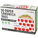 Lunchskins Recyclable + Sealable Paper Sandwich Bags, w/Closure Strip, 50-Count, Apple