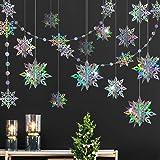 3D Iridescent Snowflake Decorations Snowflake Garland Hanging Ornaments Winter Wonderland Decor Christmas New Year Birthday W