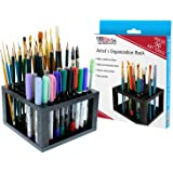 U.S. Art Supply 96 Hole Plastic Pencil & Brush Holder - Desk Stand Organizer Holder for Pens Paint Brushes Colored Pencils Ma