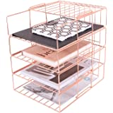 Hosaken Paper Tray, 4 Tier Stackable File Tray, Decorative Desk File Organizer Rack for Office Supplies and Accessories, Rose