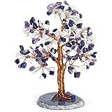Jovivi Amethyst Lapis Lazuli Opalite Crystal Money Tree Natural Healing Geode Agate Slices Base Bonsai Crystal Tree Ornament