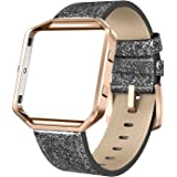 SWEES Leather Bands Compatible with Blaze Smart Watch, Genuine Leather Band with Metal Frame Small & Large for Women Men, Cha
