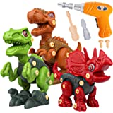 Sanlebi Take Apart Dinosaur Toys for Boys - Building Toy Set with Electric Drill Construction Engineering Play Kit STEM Learn