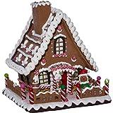 "Kurt Adler 10"" Battery-Operated Claydough LED Gingerbread House Tablepiece"