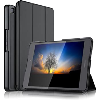 Asus Zenpad 3 8.0 Z581KL ケース 【KuGi】 スタンド機能付き Asus Zenpad 3 8.0 Z581KL / ZT581KL カバー 三つ折型 薄型 軽量 傷つけ防止 スタンドカバー 内蔵マグネット開閉式 PUレザー Asus Zenpad 3 8.0 Z581KL / Z8 ZT581KL Tablet スマートカバー ( ブラック )
