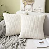 (Granules Cream White) - Pack of 2,Miulee Corduroy Soft Soild Decorative Square Throw Pillow Covers Set Cushion Case for Sofa