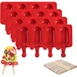 Popsicle Molds for Kids, Silicone Popsicle Molds BPA Free, Reusable 4 Cavities Popsicle Mold Maker, Easy Release Ice Pop Mold