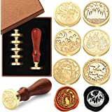 Wax Seal Stamp Set, 6 Pieces Sealing Wax Stamps Copper Seals 1 Wooden Handle, Wax Stamp Kit for Cards Envelopes, Invitations,