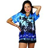 V.H.O Funky Hawaiian Shirt Blouse Women Short-Sleeve Front-Pocket Beach Palms Summer Monoblue