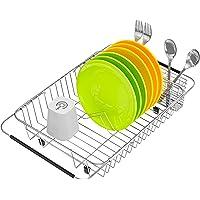食器水切りかご スライド式水切りかご 伸縮水切りワイヤーバスケット 食器乾燥ラック キッチンラック 皿置き ステンレス製…