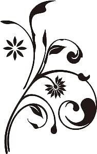 nc-smile 蔓 植物 花 ボタニカル シルエット ステッカー (デザイン 1A, ブラック)