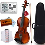 """Aileen """"Premium Beginner"""" Series Violin Outfit 4/4 Full Size Solid Wood Ebony Fitted for Kids Students, Teachers Approved"""