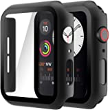 Hianjoo (2 Pack) Case Compatible with Apple Watch SE Series 6 Series 5 Series 4 44mm, Built-in Thin HD Tempered Glass Screen