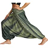 Lcoco&Dream Women's Drop Bottom Elastic Waist Loose Fit Baggy Gypsy Hippie Boho Yoga Harem Pants