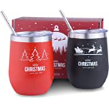 Sivaphe 2 Pack Christmas Wine Tumbler, 12oz Vacuum Double Wall Insulated Stainless Steel Stemless Wine Glasses with Lids and