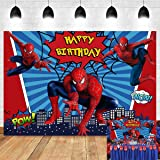 Red Spiderman Photography Backdrop Baby Boys Happy Birthday Party Decorations Vinyl Children Photo Booth Studio Props Backgro